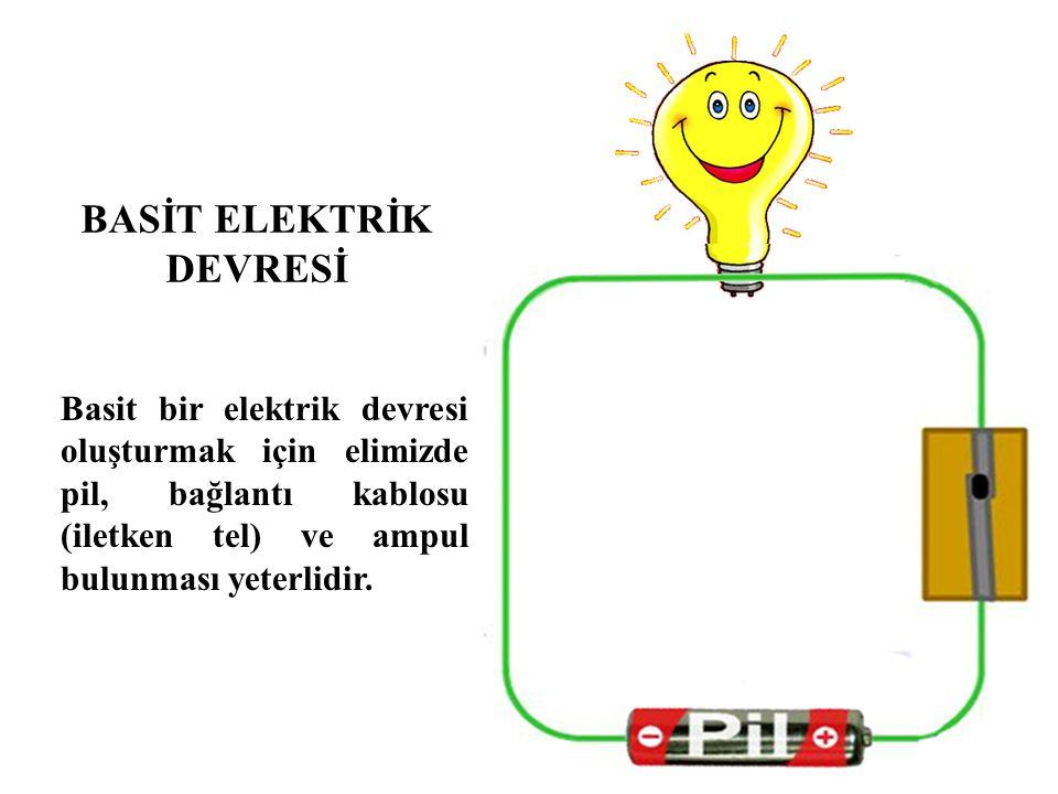 Basit bir elektrik devresi oluşturmak için elimizde pil, bağlantı kablosu (iletken tel) ve ampul bulunması yeterlidir. BASİT ELEKTRİK DEVRESİ