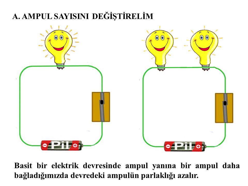 A. AMPUL SAYISINI DEĞİŞTİRELİM Basit bir elektrik devresinde ampul yanına bir ampul daha bağladığımızda devredeki ampulün parlaklığı azalır.