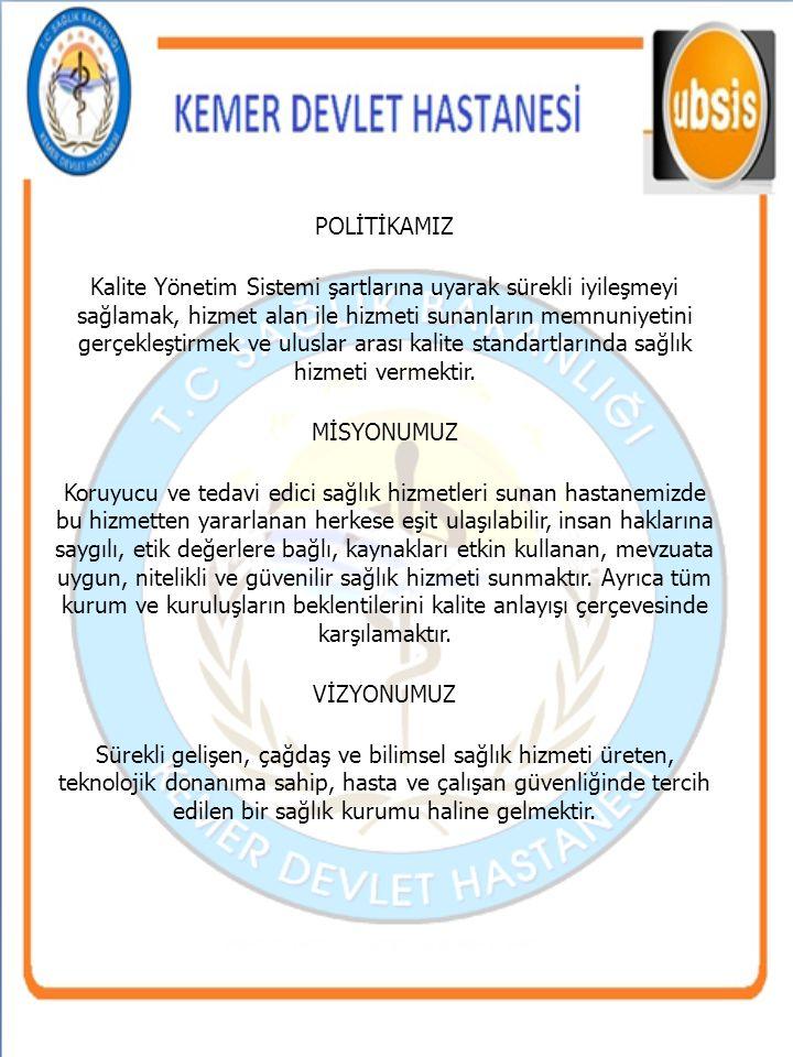POLİTİKAMIZ Kalite Yönetim Sistemi şartlarına uyarak sürekli iyileşmeyi sağlamak, hizmet alan ile hizmeti sunanların memnuniyetini gerçekleştirmek ve