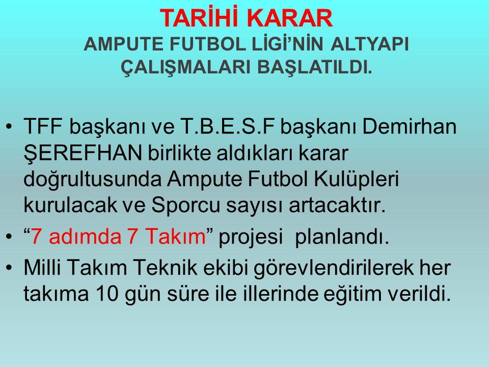 •TFF başkanı ve T.B.E.S.F başkanı Demirhan ŞEREFHAN birlikte aldıkları karar doğrultusunda Ampute Futbol Kulüpleri kurulacak ve Sporcu sayısı artacakt