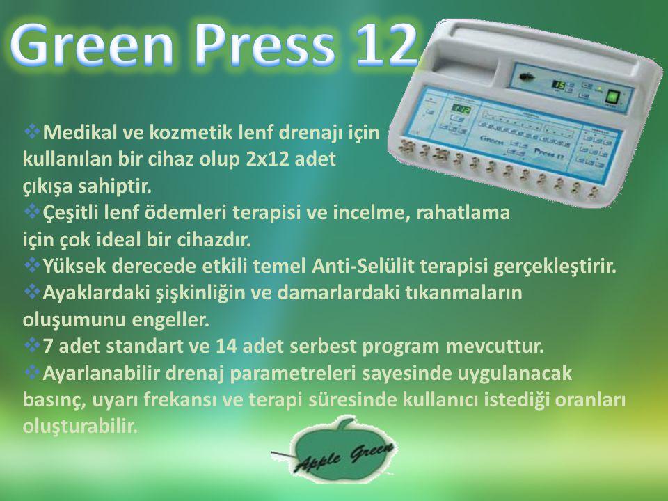  Medikal ve kozmetik lenf drenajı için kullanılan bir cihaz olup 2x12 adet çıkışa sahiptir.
