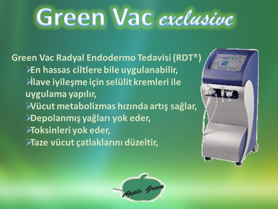 Green Vac Radyal Endodermo Tedavisi (RDT®)  En hassas ciltlere bile uygulanabilir,  İlave iyileşme için selülit kremleri ile uygulama yapılır,  Vücut metabolizmas hızında artış sağlar,  Depolanmış yağları yok eder,  Toksinleri yok eder,  Taze vücut çatlaklarını düzeltir,