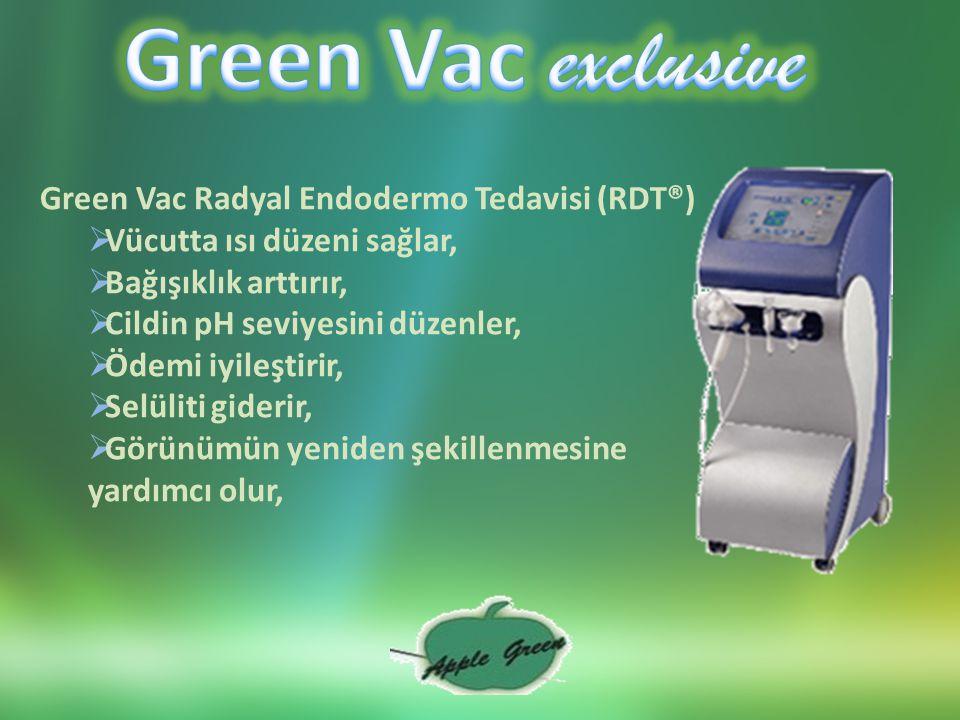 Green Vac Radyal Endodermo Tedavisi (RDT®)  Vücutta ısı düzeni sağlar,  Bağışıklık arttırır,  Cildin pH seviyesini düzenler,  Ödemi iyileştirir,  Selüliti giderir,  Görünümün yeniden şekillenmesine yardımcı olur,