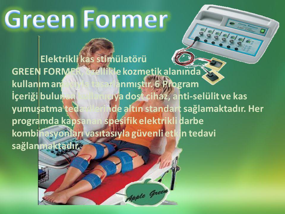 Elektrikli kas stimülatörü GREEN FORMER, özellikle kozmetik alanında kullanım amacıyla tasarlanmıştır.