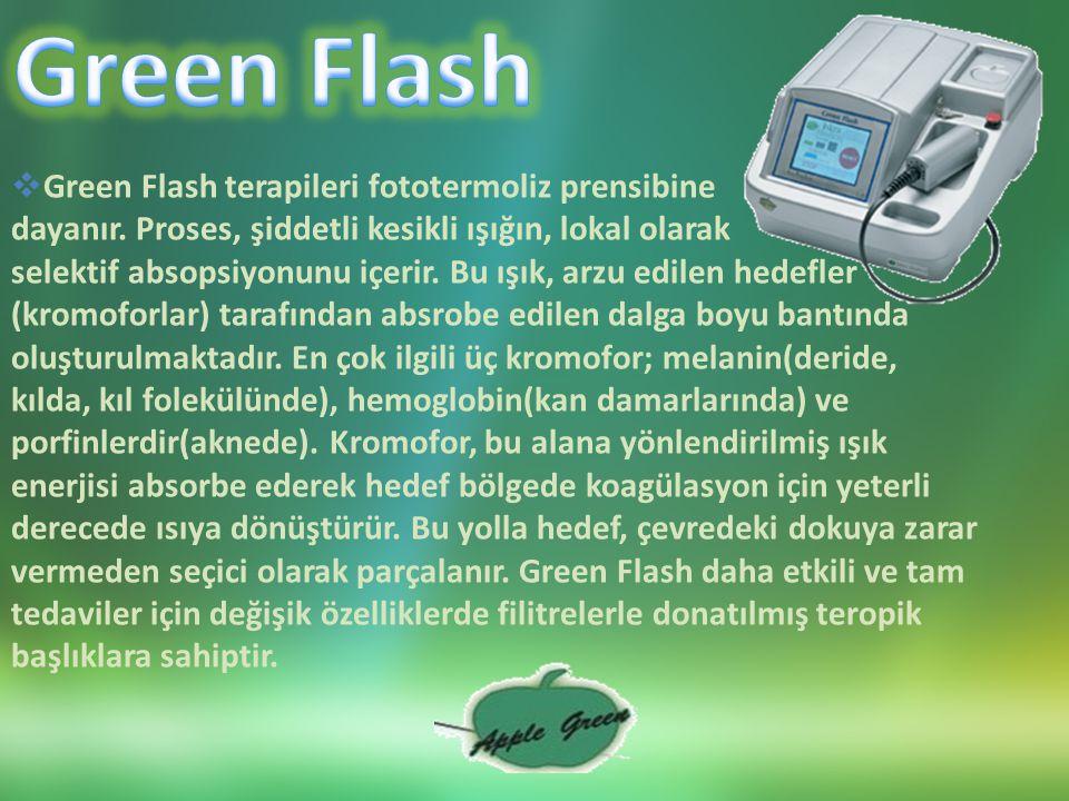  Green Flash terapileri fototermoliz prensibine dayanır.