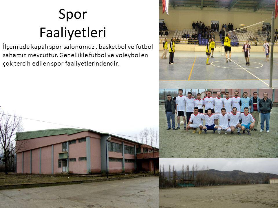 Spor Faaliyetleri İlçemizde kapalı spor salonumuz, basketbol ve futbol sahamız mevcuttur. Genellikle futbol ve voleybol en çok tercih edilen spor faal