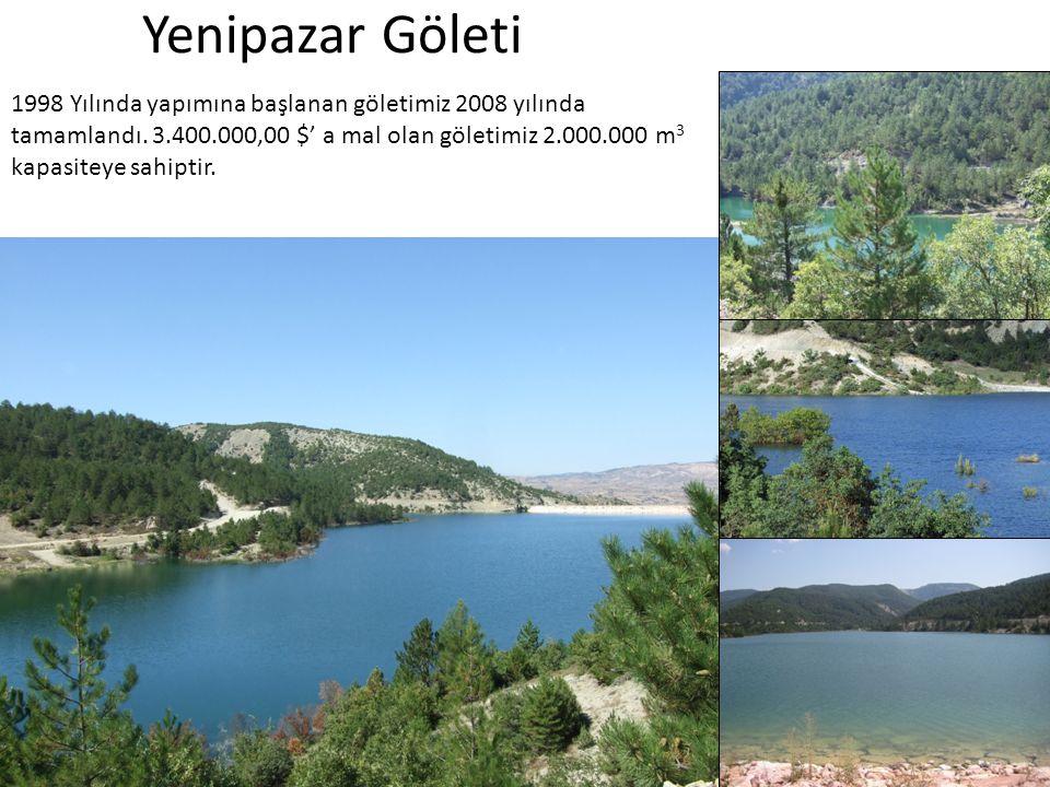 Yenipazar Göleti 1998 Yılında yapımına başlanan göletimiz 2008 yılında tamamlandı. 3.400.000,00 $' a mal olan göletimiz 2.000.000 m 3 kapasiteye sahip
