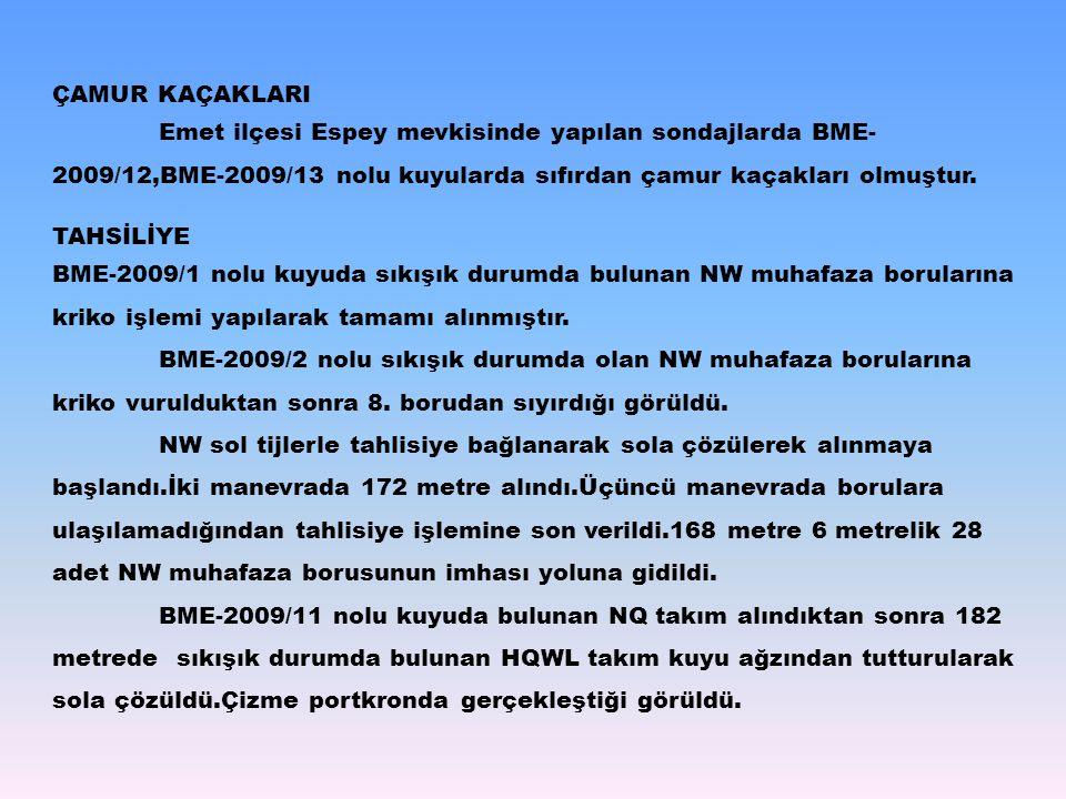 ÇAMUR KAÇAKLARI Emet ilçesi Espey mevkisinde yapılan sondajlarda BME- 2009/12,BME-2009/13 nolu kuyularda sıfırdan çamur kaçakları olmuştur. TAHSİLİYE