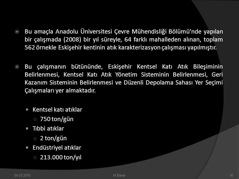 Bu amaçla Anadolu Üniversitesi Çevre Mühendisliği Bölümü'nde yapılan bir çalışmada (2008) bir yıl süreyle, 64 farklı mahalleden alınan, toplam 562 ö