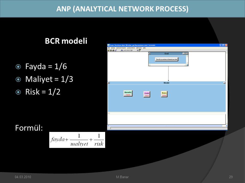 ANP (ANALYTICAL NETWORK PROCESS) BCR modeli  Fayda = 1/6  Maliyet = 1/3  Risk = 1/2 Formül: 04.03.2010M.Banar29
