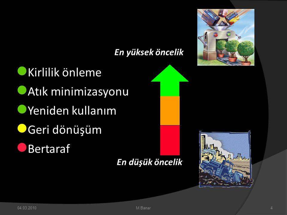 04.03.2010M.Banar4  Kirlilik önleme  Atık minimizasyonu  Yeniden kullanım  Geri dönüşüm  Bertaraf En yüksek öncelik En düşük öncelik