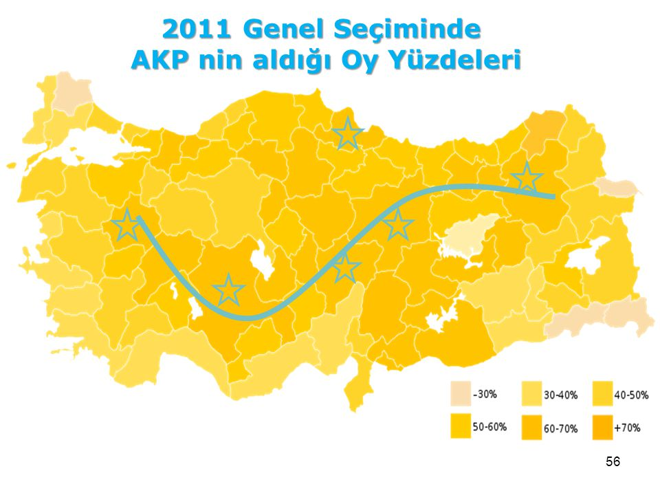 56 2011 Genel Seçiminde AKP nin aldığı Oy Yüzdeleri