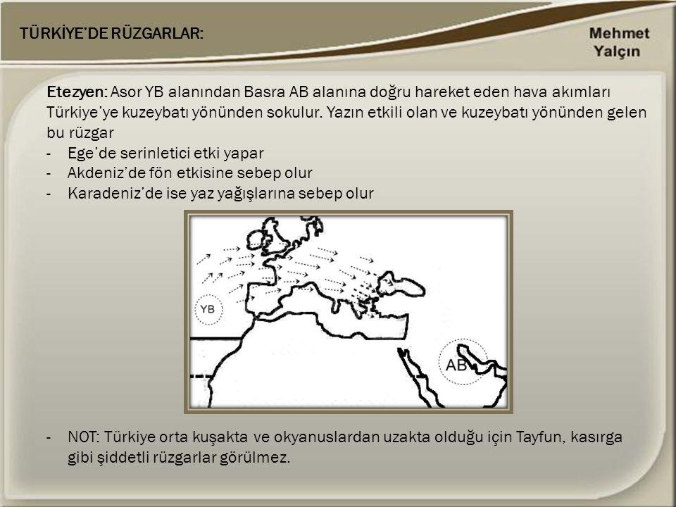 TÜRKİYE'DE RÜZGARLAR: Etezyen: Asor YB alanından Basra AB alanına doğru hareket eden hava akımları Türkiye'ye kuzeybatı yönünden sokulur. Yazın etkili