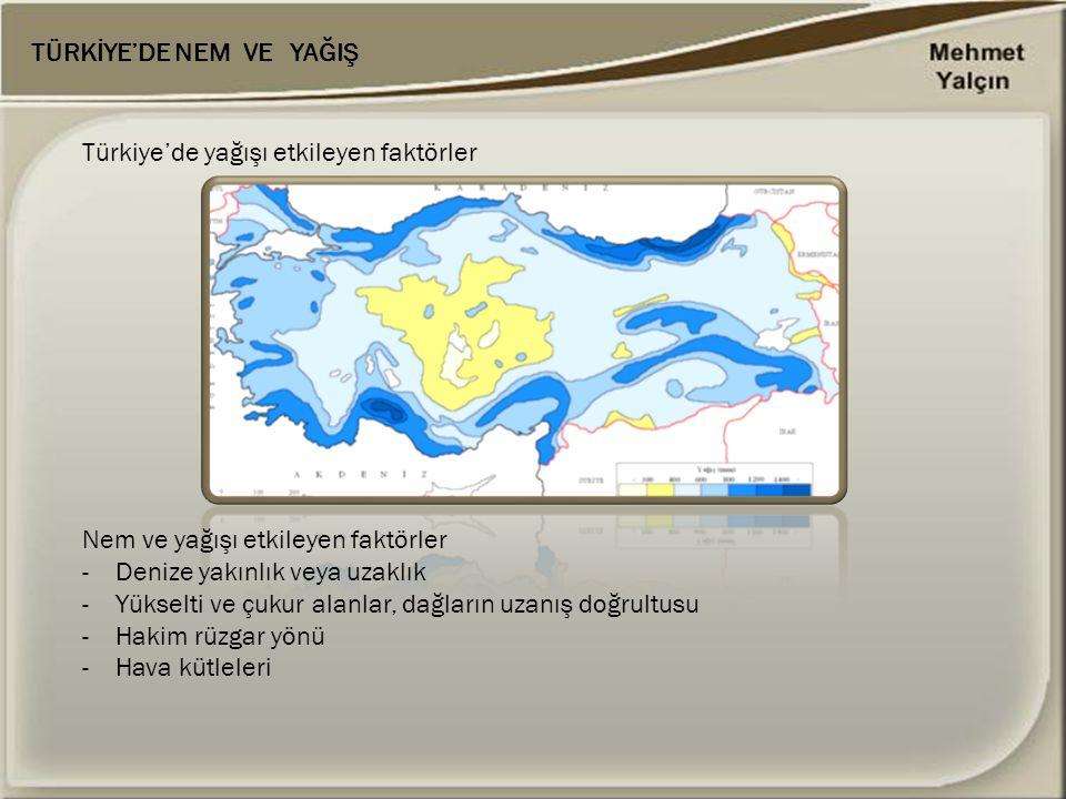 Nem ve yağışı etkileyen faktörler - Denize yakınlık veya uzaklık -Yükselti ve çukur alanlar, dağların uzanış doğrultusu -Hakim rüzgar yönü -Hava kütle