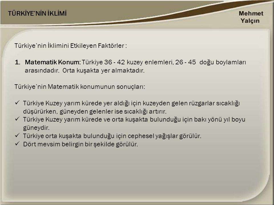 TÜRKİYE'NİN İKLİMİ Türkiye'nin İklimini Etkileyen Faktörler : 1.Matematik Konum: Türkiye 36 - 42 kuzey enlemleri, 26 - 45 doğu boylamları arasındadır.