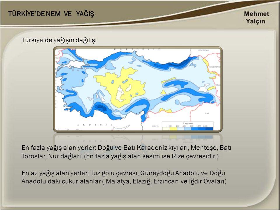 Türkiye'de yağışın dağılışı En fazla yağış alan yerler: Doğu ve Batı Karadeniz kıyıları, Menteşe, Batı Toroslar, Nur dağları. (En fazla yağış alan kes