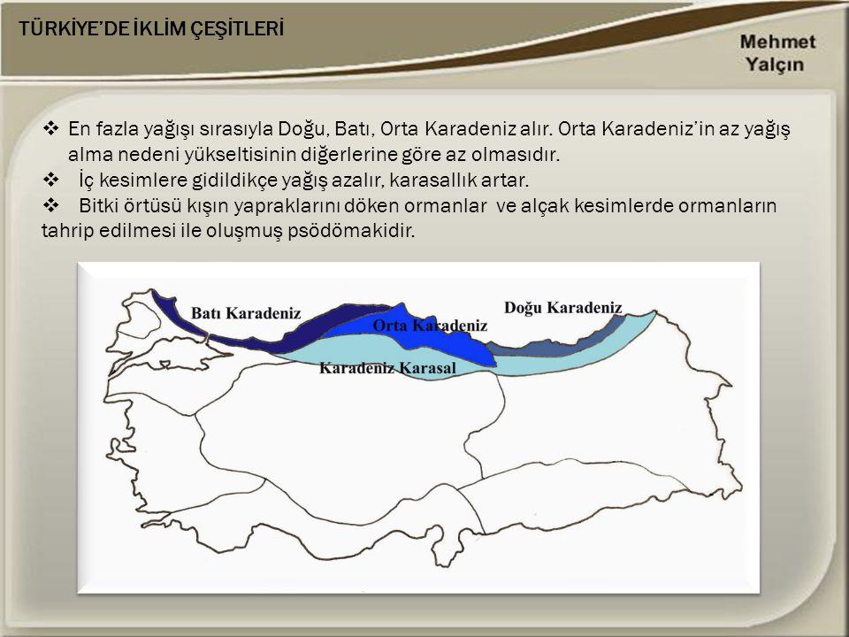 TÜRKİYE'DE İKLİM ÇEŞİTLERİ  En fazla yağışı sırasıyla Doğu, Batı, Orta Karadeniz alır. Orta Karadeniz'in az yağış alma nedeni yükseltisinin diğerleri