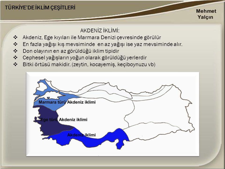 AKDENİZ İKLİMİ:  Akdeniz, Ege kıyıları ile Marmara Denizi çevresinde görülür  En fazla yağışı kış mevsiminde en az yağışı ise yaz mevsiminde alır. 