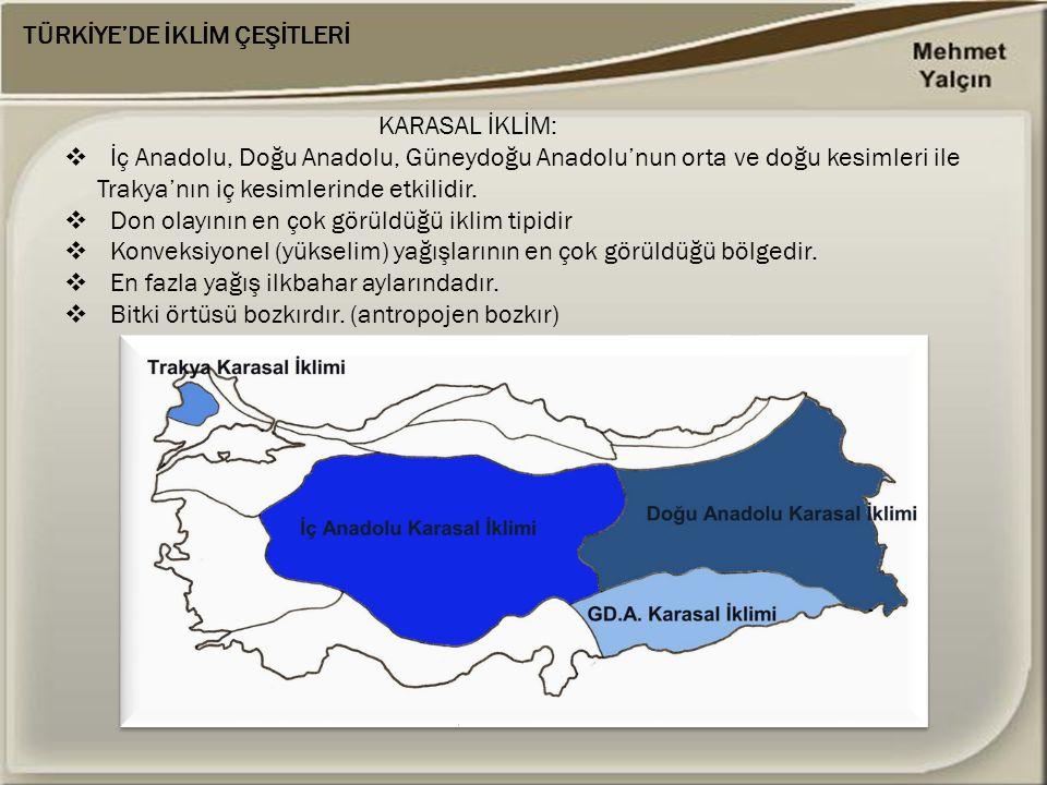 KARASAL İKLİM:  İç Anadolu, Doğu Anadolu, Güneydoğu Anadolu'nun orta ve doğu kesimleri ile Trakya'nın iç kesimlerinde etkilidir.  Don olayının en ço