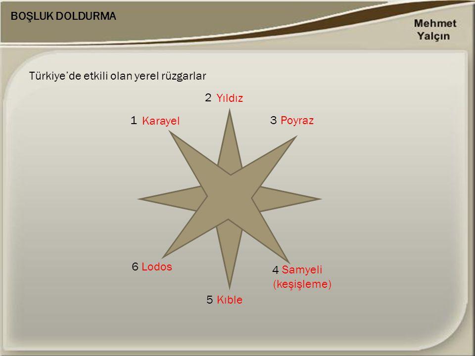 BOŞLUK DOLDURMA Türkiye'de etkili olan yerel rüzgarlar 1 2 3 6 5 4 Karayel Yıldız Poyraz Samyeli (keşişleme) Kıble Lodos