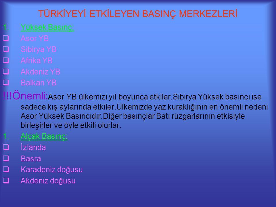 TÜRKİYEYİ ETKİLEYEN BASINÇ MERKEZLERİ 1.Yüksek Basınç:  Asor YB  Sibirya YB  Afrika YB  Akdeniz YB  Balkan YB !!!Önemli: Asor YB ülkemizi yıl boy