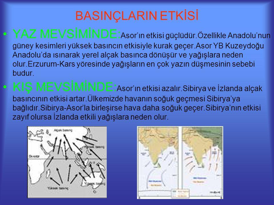 BASINÇLARIN ETKİSİ •YAZ MEVSİMİNDE: Asor'ın etkisi güçlüdür.Özellikle Anadolu'nun güney kesimleri yüksek basıncın etkisiyle kurak geçer.Asor YB Kuzeyd