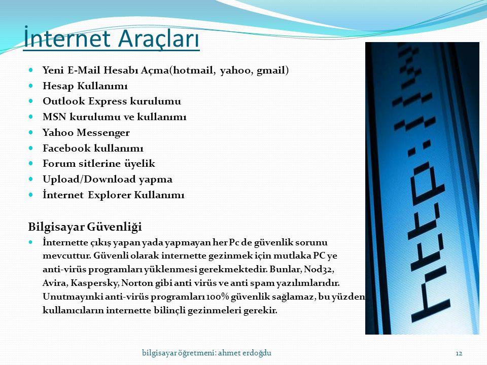 İnternet Araçları  Yeni E-Mail Hesabı Açma(hotmail, yahoo, gmail)  Hesap Kullanımı  Outlook Express kurulumu  MSN kurulumu ve kullanımı  Yahoo Me