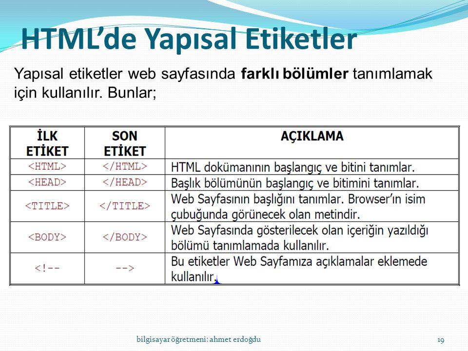 HTML'de Yapısal Etiketler bilgisayar öğretmeni: ahmet erdoğdu19 Yapısal etiketler web sayfasında farklı bölümler tanımlamak için kullanılır. Bunlar;