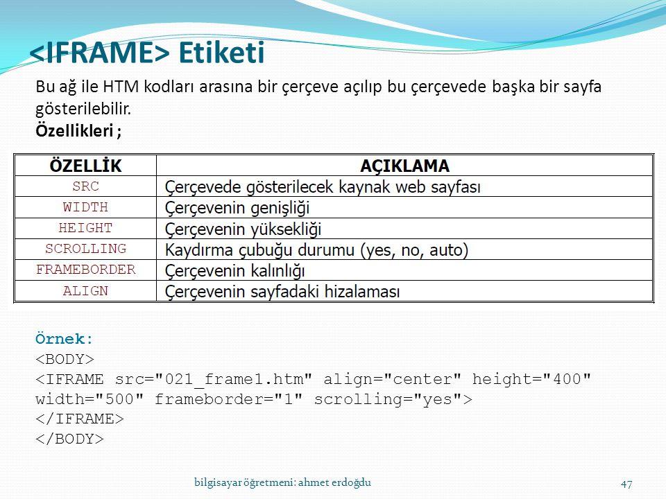 Etiketi bilgisayar öğretmeni: ahmet erdoğdu47 Bu ağ ile HTM kodları arasına bir çerçeve açılıp bu çerçevede başka bir sayfa gösterilebilir. Özellikler