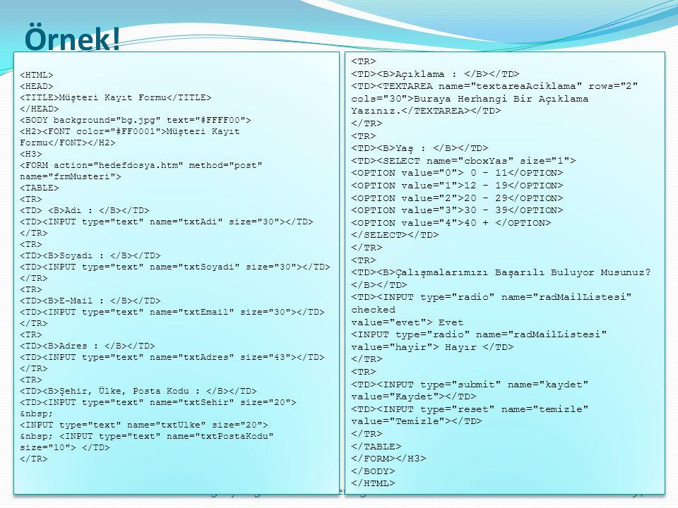 bilgisayar öğretmeni: ahmet erdoğdu54 Örnek! Müşteri Kayıt Formu Müşteri Kayıt Formu Adı : Soyadı : E-Mail : Adres : Şehir, Ülke, Posta Kodu : <INPUT