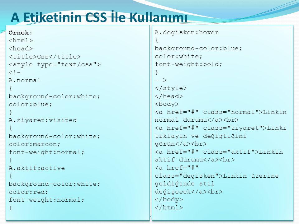 bilgisayar öğretmeni: ahmet erdoğdu72 A Etiketinin CSS İle Kullanımı Örnek: Css <!- A.normal { background-color:white; color:blue; } A.ziyaret:visited