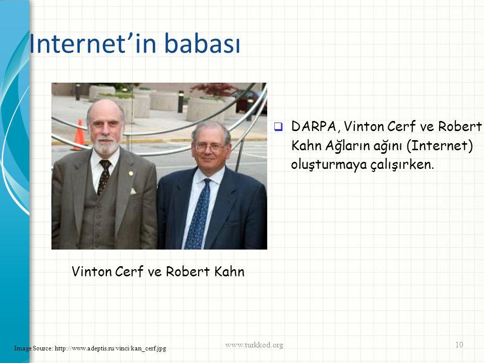 Internet'in babası www.turkkod.org10 Image Source: http://www.adeptis.ru/vinci/kan_cerf.jpg Vinton Cerf ve Robert Kahn  DARPA, Vinton Cerf ve Robert