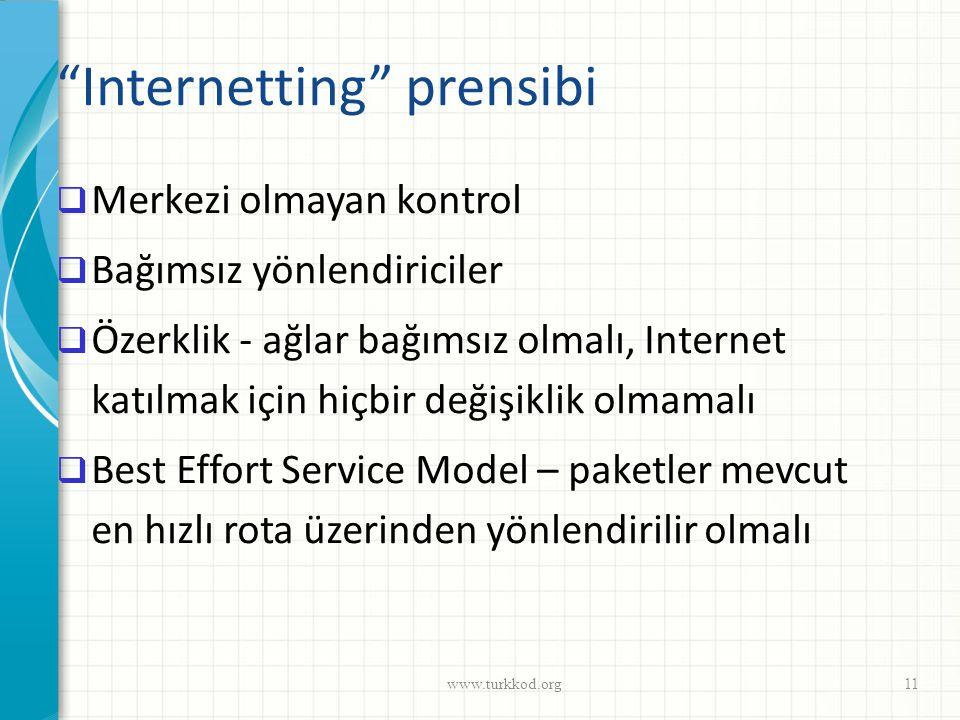 """""""Internetting"""" prensibi  Merkezi olmayan kontrol  Bağımsız yönlendiriciler  Özerklik - ağlar bağımsız olmalı, Internet katılmak için hiçbir değişik"""
