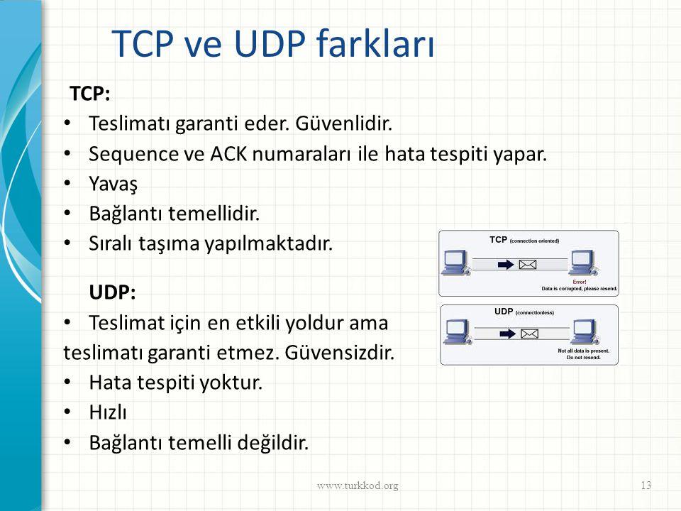 TCP ve UDP farkları TCP: • Teslimatı garanti eder. Güvenlidir. • Sequence ve ACK numaraları ile hata tespiti yapar. • Yavaş • Bağlantı temellidir. • S
