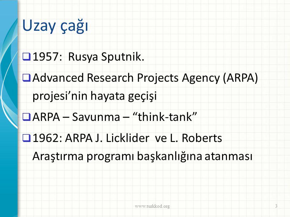 """Uzay çağı  1957: Rusya Sputnik.  Advanced Research Projects Agency (ARPA) projesi'nin hayata geçişi  ARPA – Savunma – """"think-tank""""  1962: ARPA J."""