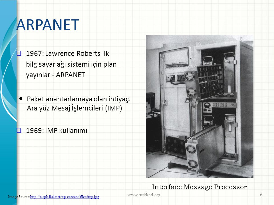 ARPANET  1969: UCLA Kleinrock de Stanford da ilk uzaktan oturum açma girişimleri: We set up a telephone connection between us and the guys at SRI..., Kleinrock said in an interview: We typed the L and we asked on the phone, Do you see the L? Yes, we see the L, came the response.