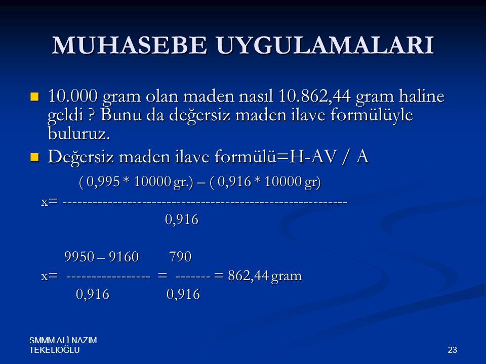 SMMM ALİ NAZIM TEKELİOĞLU 23 MUHASEBE UYGULAMALARI  10.000 gram olan maden nasıl 10.862,44 gram haline geldi ? Bunu da değersiz maden ilave formülüyl