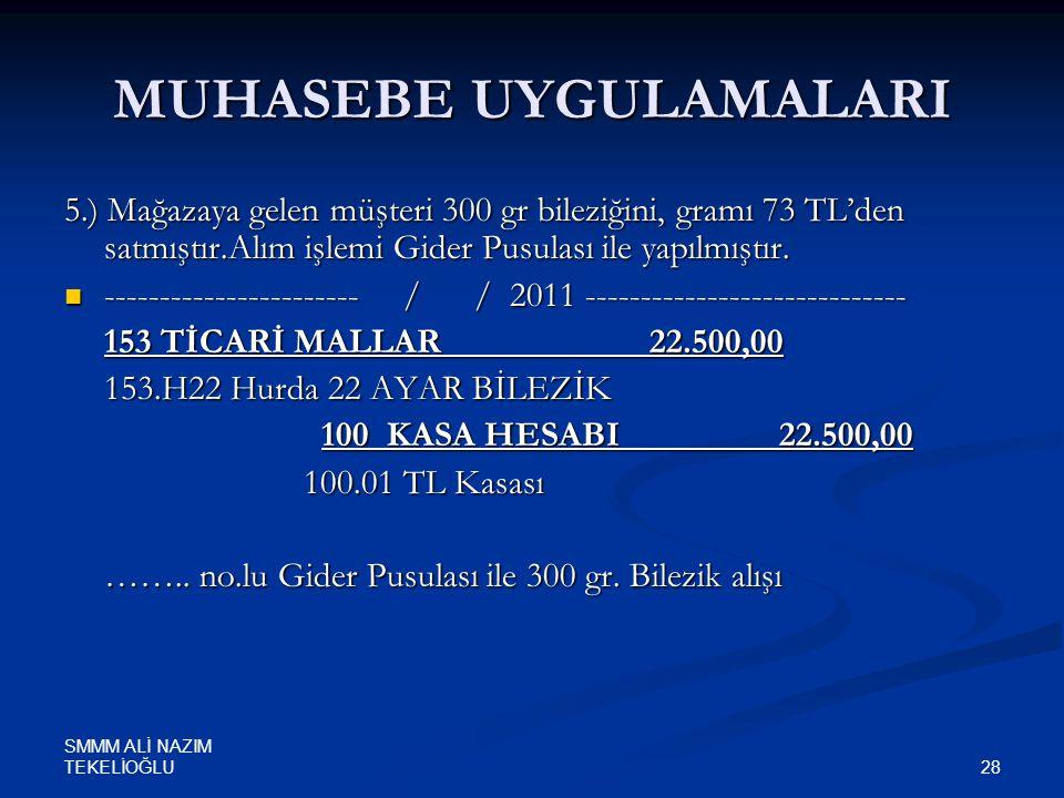 SMMM ALİ NAZIM TEKELİOĞLU 28 MUHASEBE UYGULAMALARI 5.) Mağazaya gelen müşteri 300 gr bileziğini, gramı 73 TL'den satmıştır.Alım işlemi Gider Pusulası