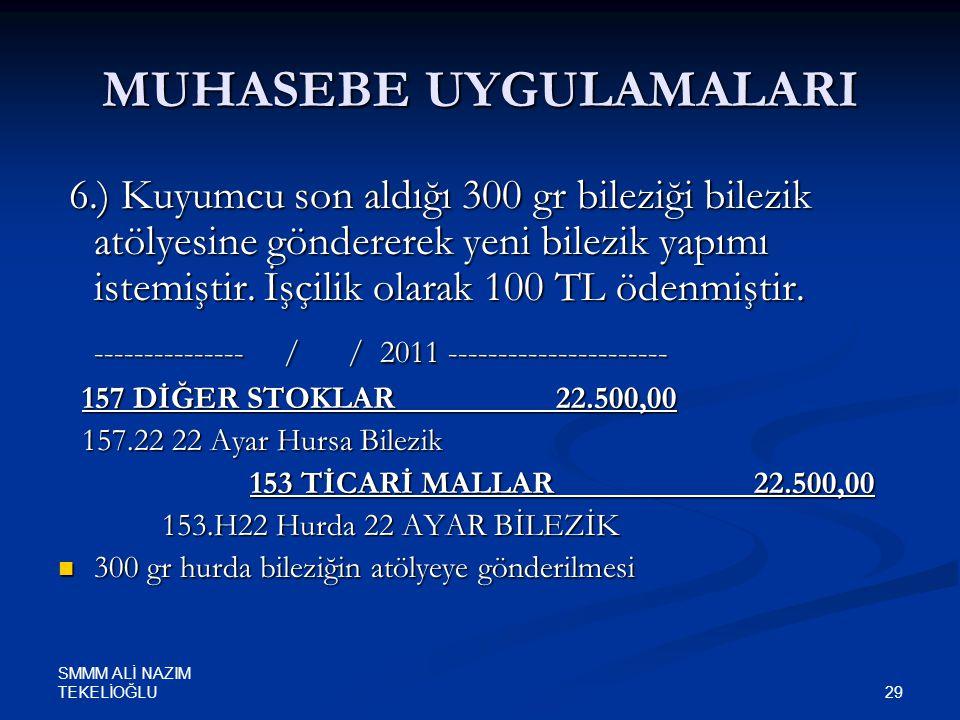 SMMM ALİ NAZIM TEKELİOĞLU 29 MUHASEBE UYGULAMALARI 6.) Kuyumcu son aldığı 300 gr bileziği bilezik atölyesine göndererek yeni bilezik yapımı istemiştir