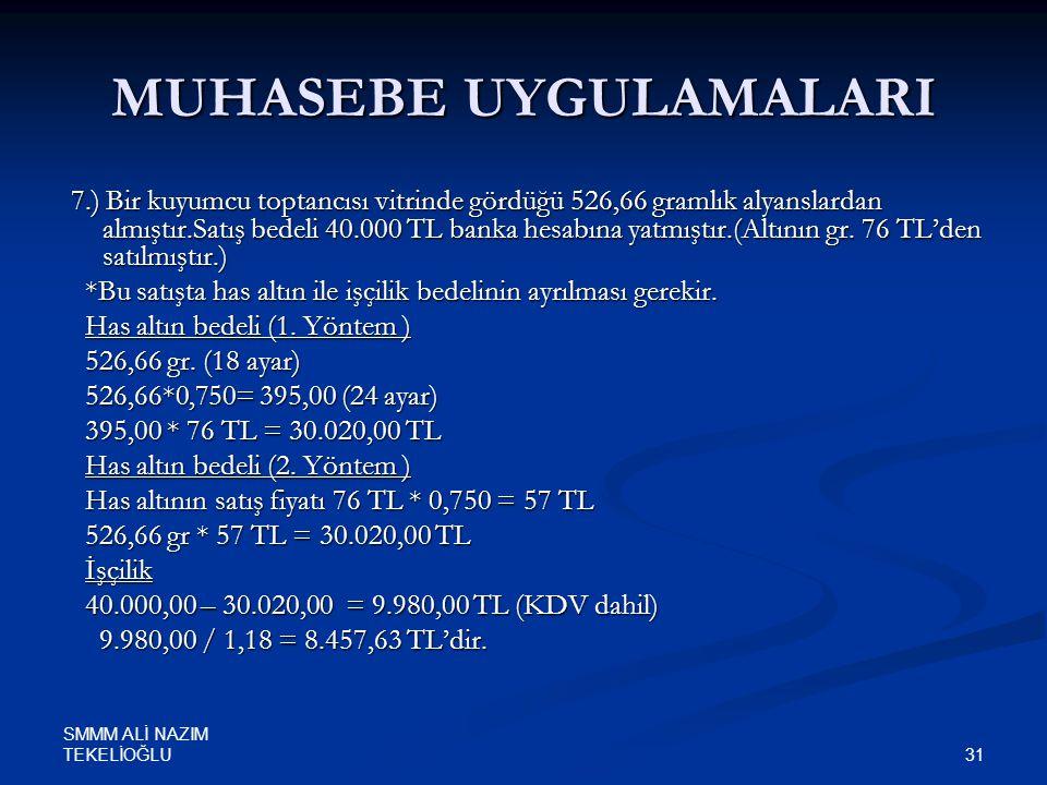 SMMM ALİ NAZIM TEKELİOĞLU 31 MUHASEBE UYGULAMALARI 7.) Bir kuyumcu toptancısı vitrinde gördüğü 526,66 gramlık alyanslardan almıştır.Satış bedeli 40.00
