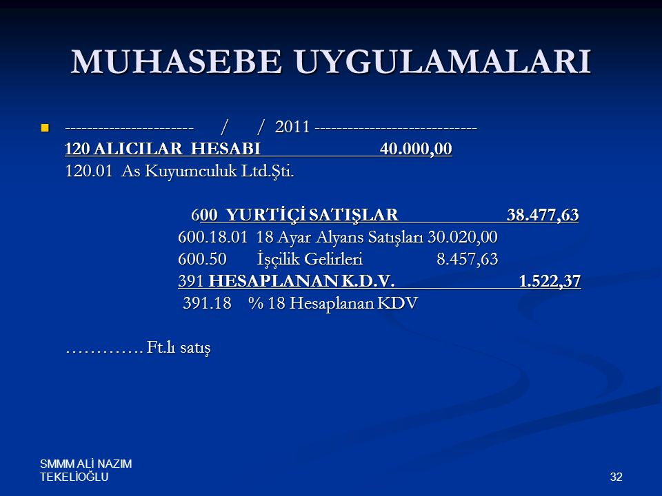 SMMM ALİ NAZIM TEKELİOĞLU 32 MUHASEBE UYGULAMALARI  ----------------------- / / 2011 ----------------------------- 120 ALICILAR HESABI 40.000,00 120.