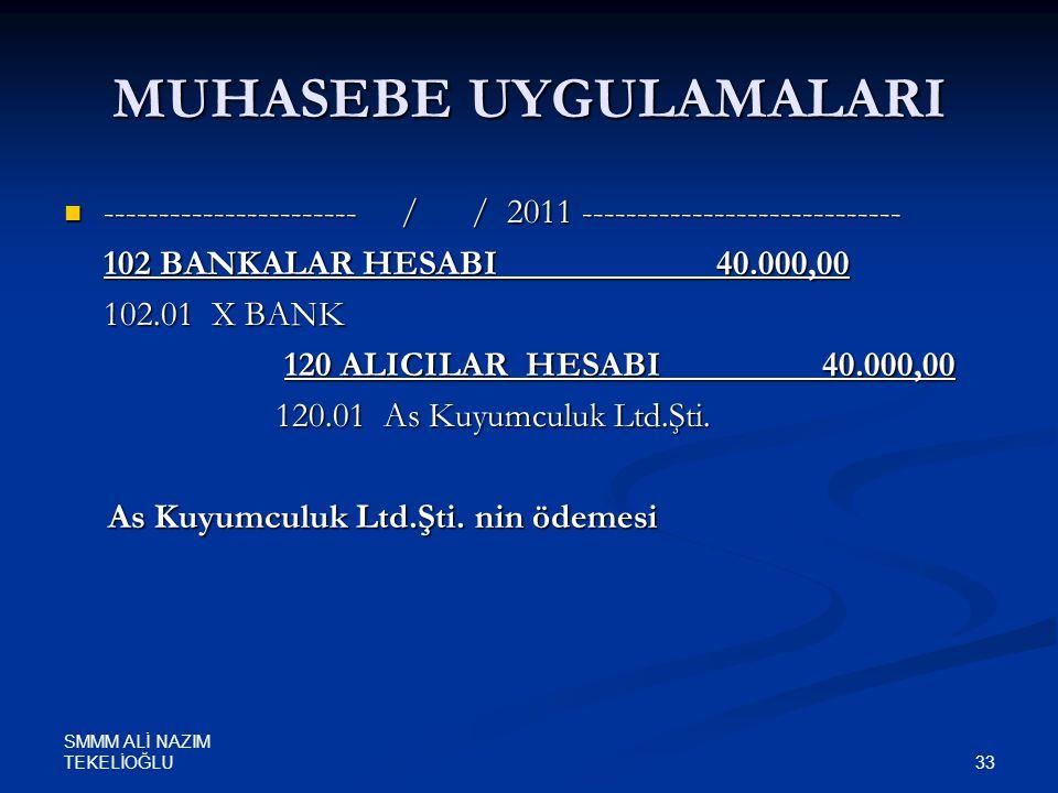SMMM ALİ NAZIM TEKELİOĞLU 33 MUHASEBE UYGULAMALARI  ----------------------- / / 2011 ----------------------------- 102 BANKALAR HESABI 40.000,00 102.