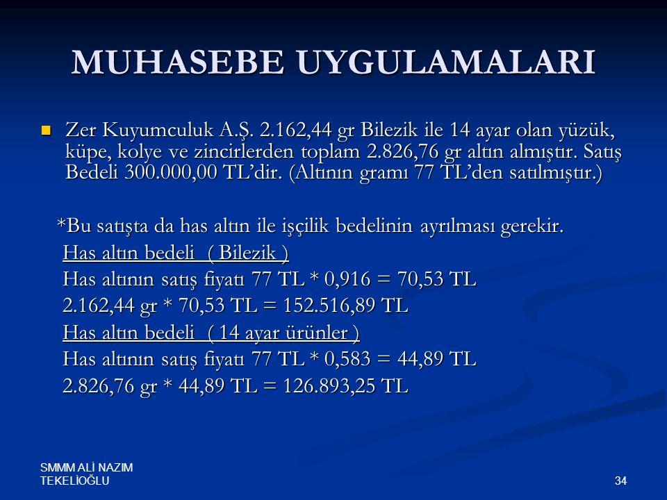 SMMM ALİ NAZIM TEKELİOĞLU 34 MUHASEBE UYGULAMALARI  Zer Kuyumculuk A.Ş. 2.162,44 gr Bilezik ile 14 ayar olan yüzük, küpe, kolye ve zincirlerden topla
