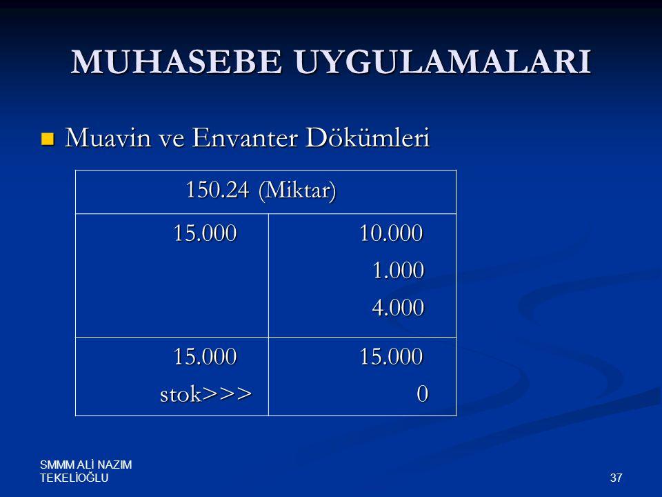 SMMM ALİ NAZIM TEKELİOĞLU 37 MUHASEBE UYGULAMALARI  Muavin ve Envanter Dökümleri 150.24 (Miktar) 150.24 (Miktar) 15.000 15.000 10.000 10.000 1.000 1.