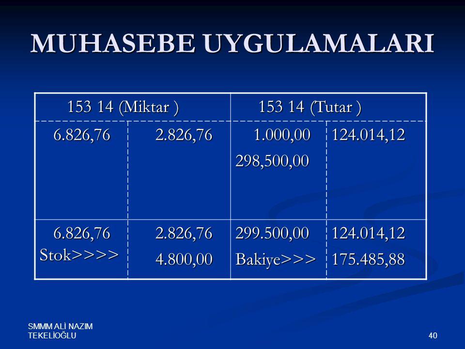 SMMM ALİ NAZIM TEKELİOĞLU 40 MUHASEBE UYGULAMALARI 153 14 (Miktar ) 153 14 (Miktar ) 153 14 (Tutar ) 153 14 (Tutar ) 6.826,76 6.826,76 2.826,76 2.826,