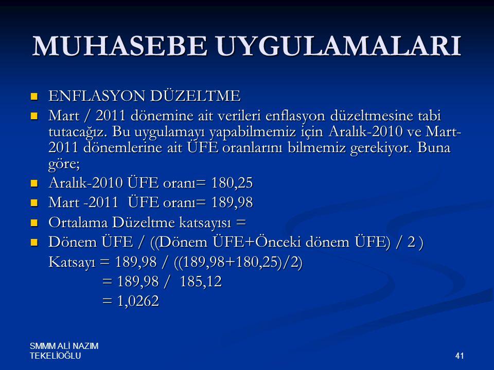SMMM ALİ NAZIM TEKELİOĞLU 41 MUHASEBE UYGULAMALARI  ENFLASYON DÜZELTME  Mart / 2011 dönemine ait verileri enflasyon düzeltmesine tabi tutacağız. Bu