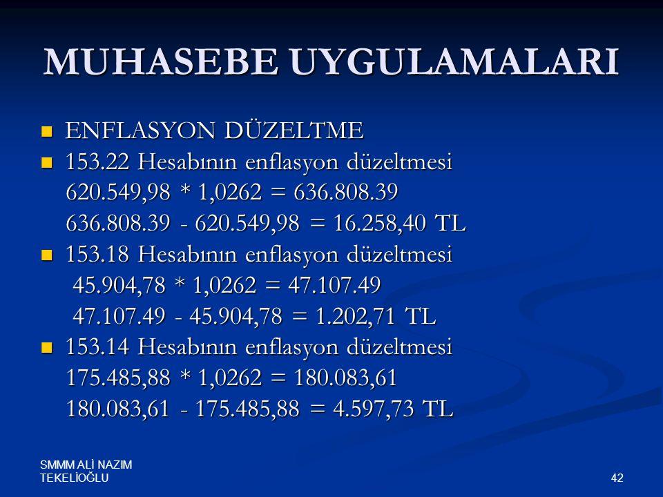 SMMM ALİ NAZIM TEKELİOĞLU 42 MUHASEBE UYGULAMALARI  ENFLASYON DÜZELTME  153.22 Hesabının enflasyon düzeltmesi 620.549,98 * 1,0262 = 636.808.39 620.5
