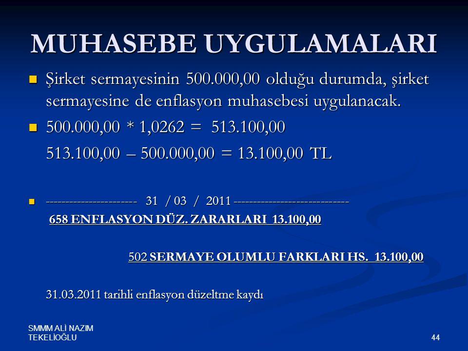 SMMM ALİ NAZIM TEKELİOĞLU 44 MUHASEBE UYGULAMALARI  Şirket sermayesinin 500.000,00 olduğu durumda, şirket sermayesine de enflasyon muhasebesi uygulan
