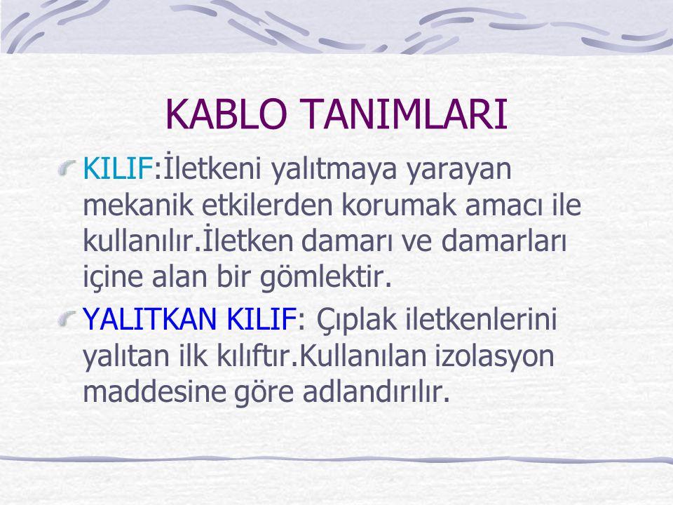 KABLO TANIMLARI KILIF:İletkeni yalıtmaya yarayan mekanik etkilerden korumak amacı ile kullanılır.İletken damarı ve damarları içine alan bir gömlektir.