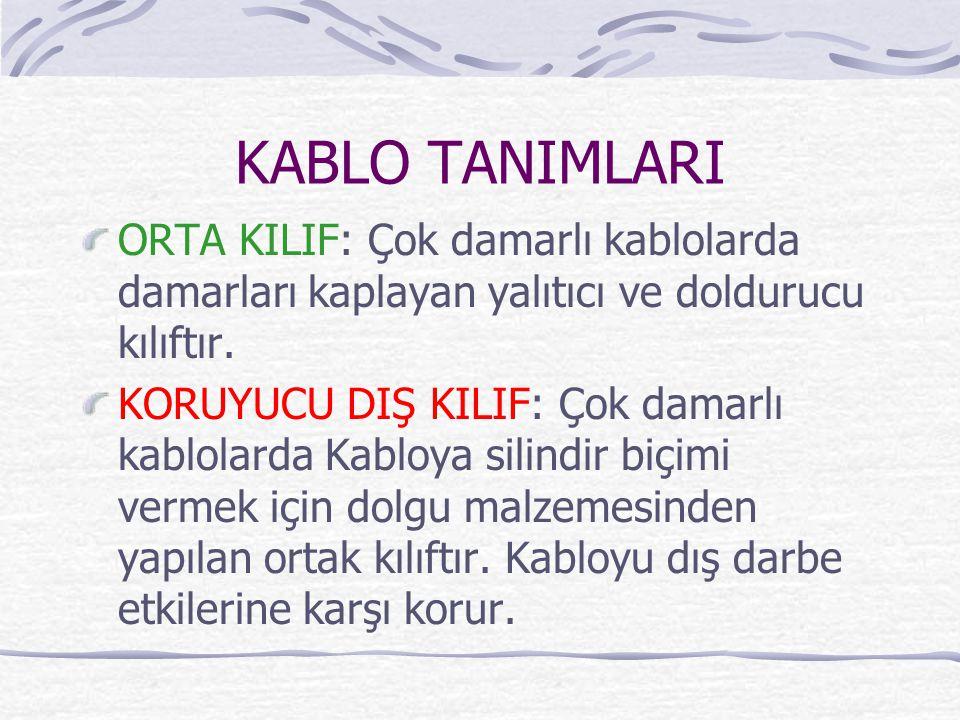 KABLO TANIMLARI ORTA KILIF: Çok damarlı kablolarda damarları kaplayan yalıtıcı ve doldurucu kılıftır.
